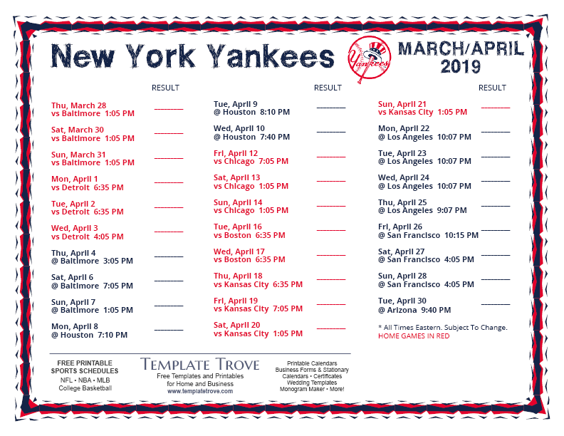 graphic relating to New York Yankees Printable Schedule known as Printable 2019 Refreshing York Yankees Timetable