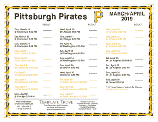 April 2019 Pittsburgh Pirates Printable Schedule
