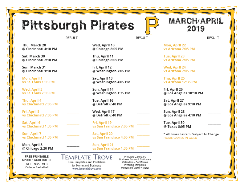 photograph about Pirates Printable Schedule called Printable 2019 Pittsburgh Pirates Routine