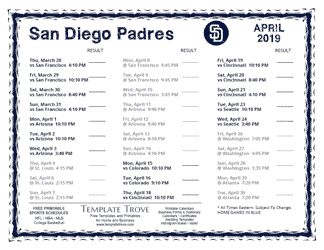 April 2019 San Diego Padres Printable Schedule