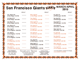 April 2019 San Francisco Giants Printable Schedule