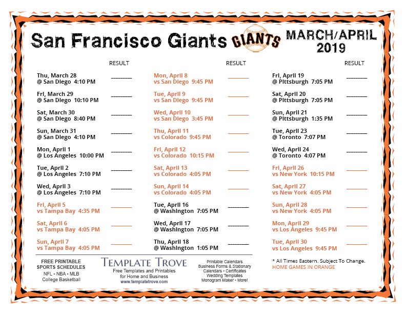 image relating to Sf Giants Printable Schedule known as Printable 2019 San Francisco Giants Program