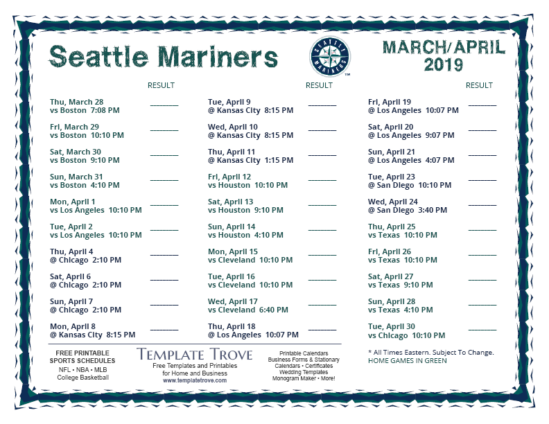 Seattle Mariners 2019 Schedule Printable 2019 Seattle Mariners Schedule