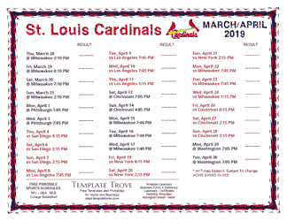 April 2019 St. Louis Cardinals Printable Schedule