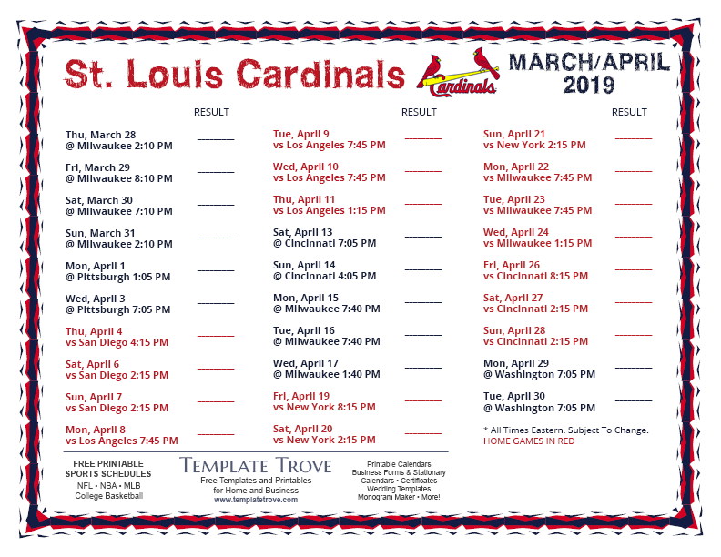 photograph relating to Free Printable Pictures of Cardinals titled Printable 2019 St. Louis Cardinals Timetable