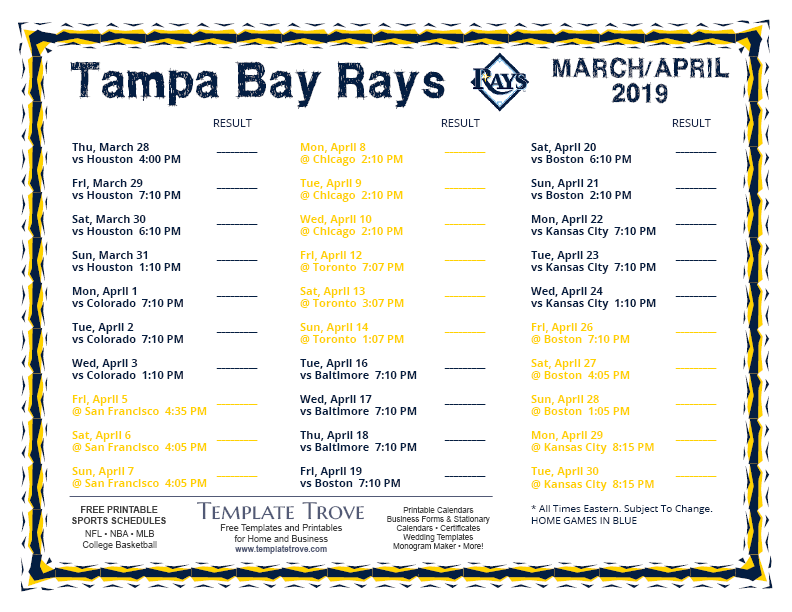 graphic relating to Rays Printable Schedule referred to as Printable 2019 Tampa Bay Rays Program