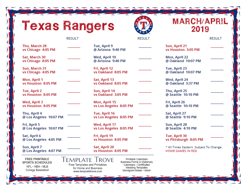 image about Texas Printable referred to as Printable 2019 Texas Rangers Plan
