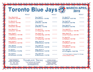 April 2019 Toronto Blue Jays Printable Schedule