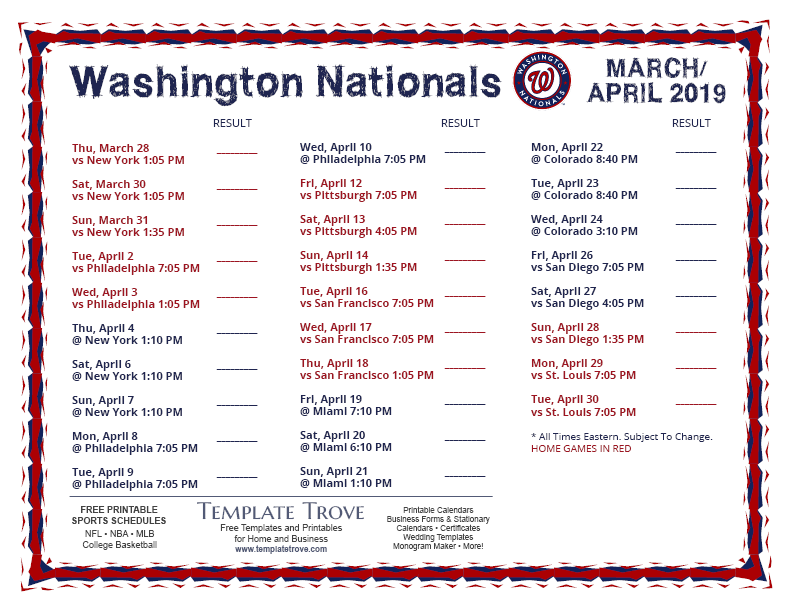 It is a graphic of Revered Washington Nationals 2020 Printable Schedule