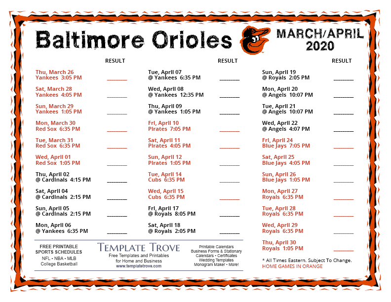 It is a graphic of Orioles Printable Schedule intended for washington nationals