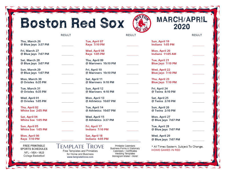 It's just a photo of Vibrant Red Sox 2020 Printable Schedule
