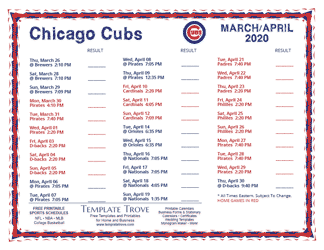April 2020 Chicago Cubs Printable Schedule