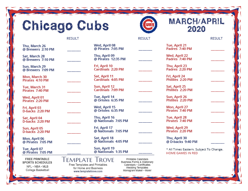 This is an image of Massif Chicago Cubs Schedule 2020 Printable