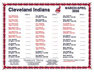 April 2020 Cleveland Indians Printable Schedule