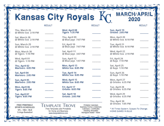 April 2020 Kansas City Royals Printable Schedule