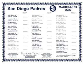 April 2020 San Diego Padres Printable Schedule