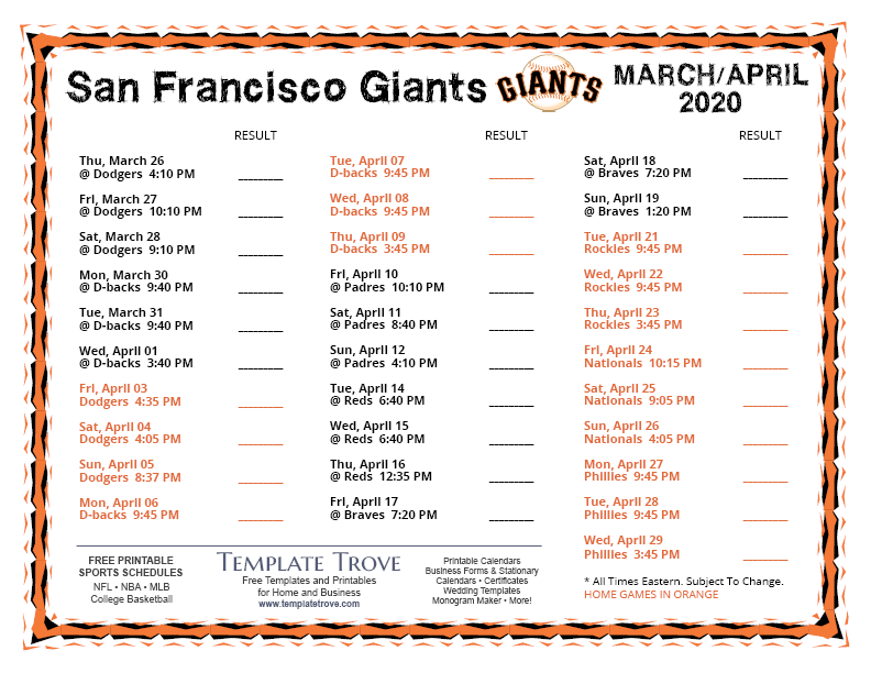 It's just a graphic of Geeky Sf Giants Printable Schedule 2020