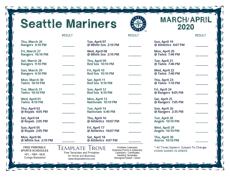 It's just an image of Adaptable Seattle Seahawks Schedule 2020 Printable Pacific Time