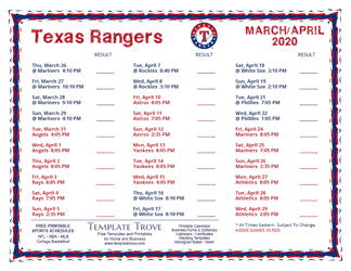 April 2020 Texas Rangers Printable Schedule
