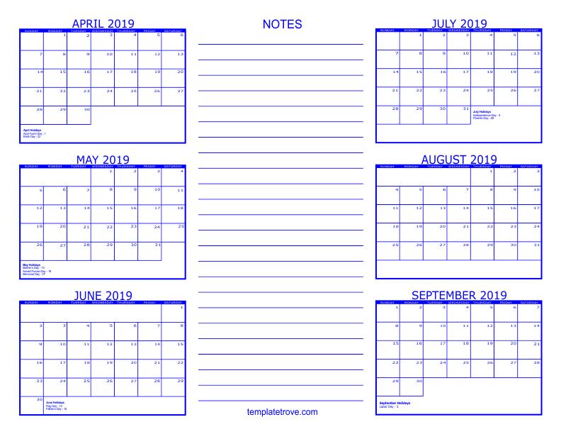 Printable 6 Month July To December Calendar 2019 6 Month Calendar   2019