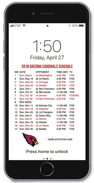 2018 Arizona Cardinals Lock Screen Schedule