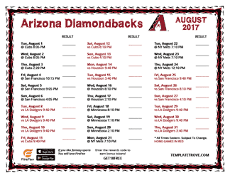 August 2017 Arizona Diamondbacks Printable Schedule