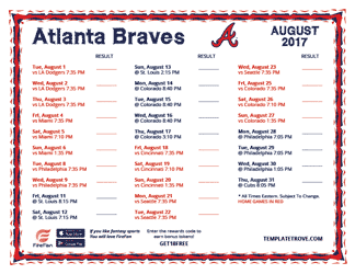 August 2017 Atlanta Braves Printable Schedule