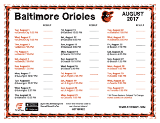 August 2017 Baltimore Orioles Printable Schedule