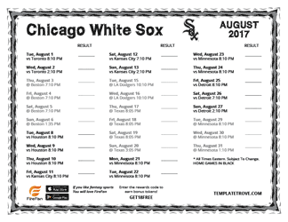 August 2017 Chicago White Sox Printable Schedule