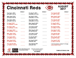 August 2017 Cincinnati Reds Printable Schedule