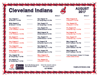 August 2017 Cleveland Indians Printable Schedule