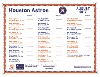 August 2017 Houston Astros Printable Schedule