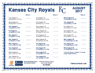 August 2017 Kansas City Royals Printable Schedule