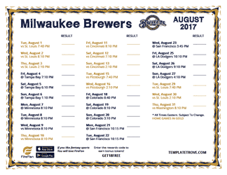 August 2017 Milwaukee Brewers Printable Schedule