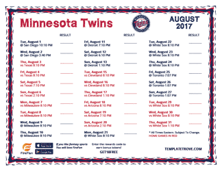 August 2017 Minnesota Twins Printable Schedule