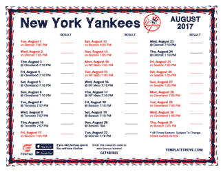 August 2017 New York Yankees Printable Schedule