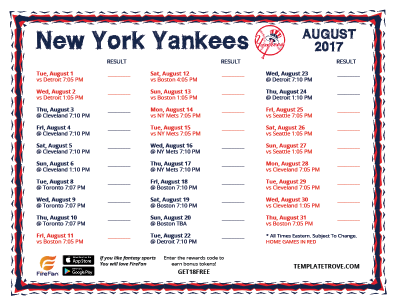 Clever image intended for yankees schedule printable