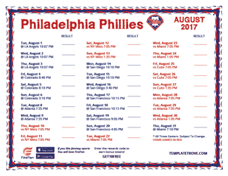 August 2017 Philadelphia Phillies Printable Schedule