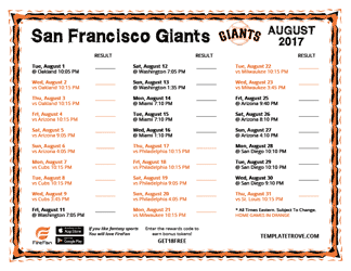 August 2017 San Francisco Giants Printable Schedule