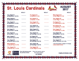 August 2017 St. Louis Cardinals Printable Schedule