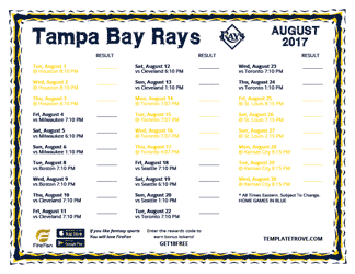 August 2017 Tampa Bay Rays Printable Schedule