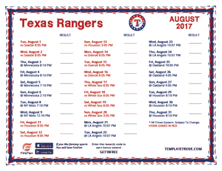 August 2017 Texas Rangers Printable Schedule