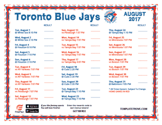 August 2017 Toronto Blue Jays Printable Schedule