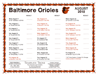 August 2018 Baltimore Orioles Printable Schedule