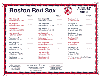 August 2018 Boston Red Sox Printable Schedule