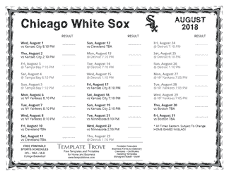 August 2018 Chicago White Sox Printable Schedule