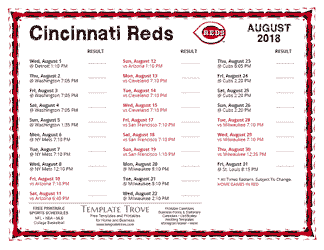 August 2018 Cincinnati Reds Printable Schedule