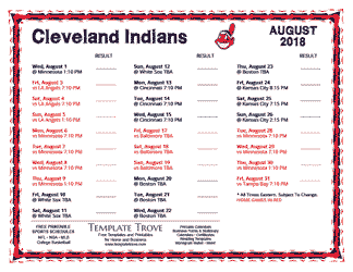 August 2018 Cleveland Indians Printable Schedule