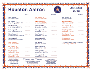 August 2018 Houston Astros Printable Schedule