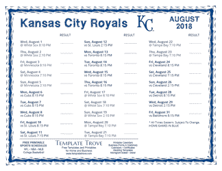 August 2018 Kansas City Royals Printable Schedule